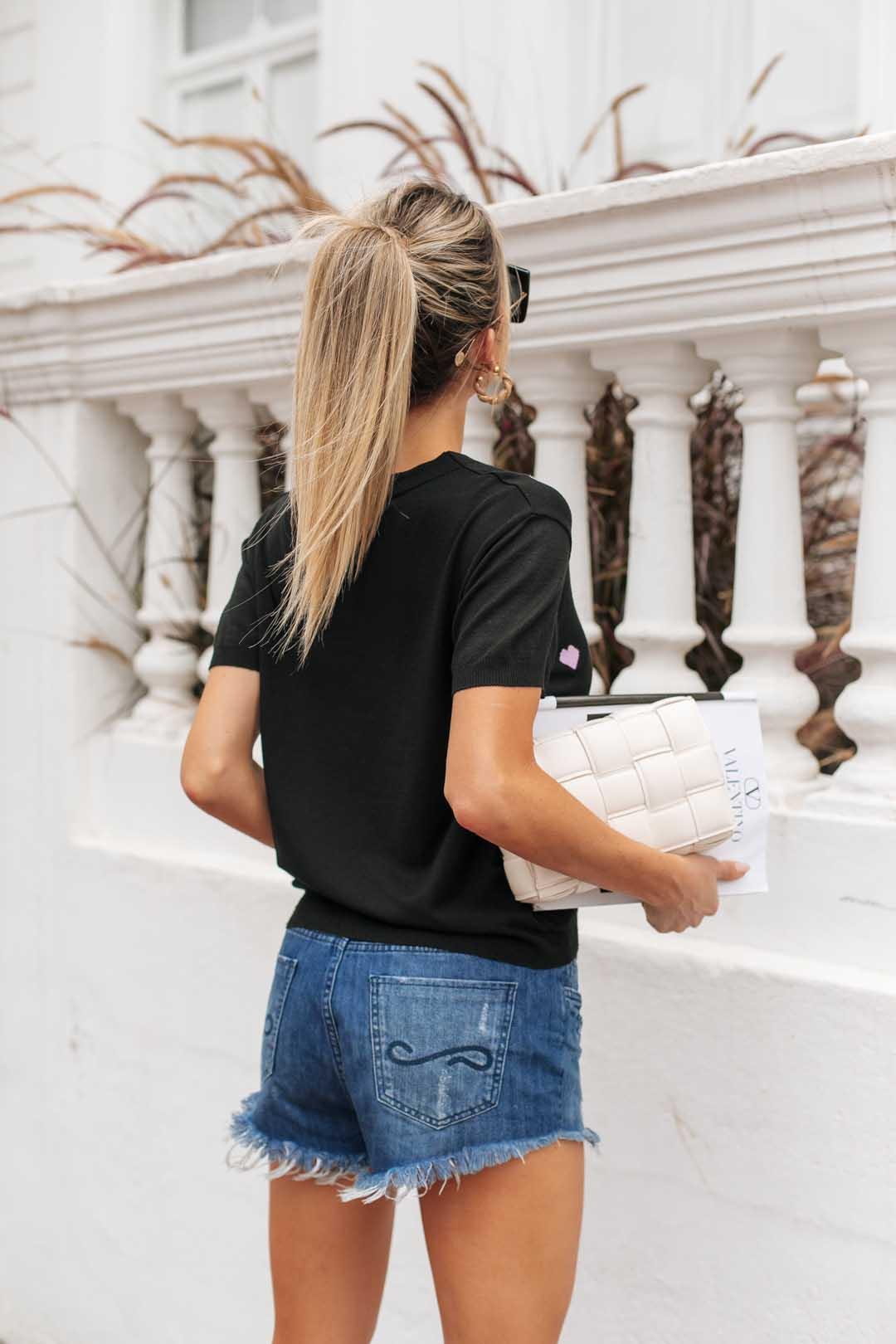 Blusa T-shirt  Lauana Coração Vera Tricot - Preto