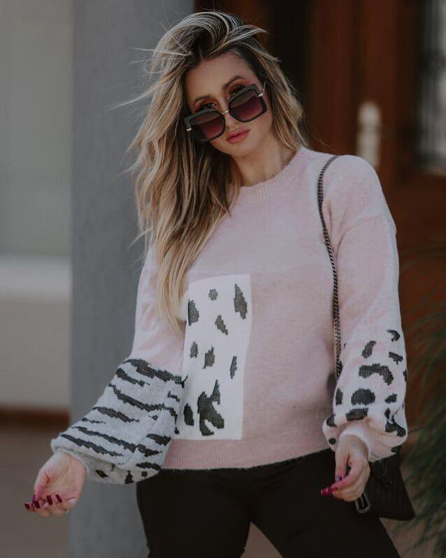 Blusa Tricot Feminina Animal Print Rosa