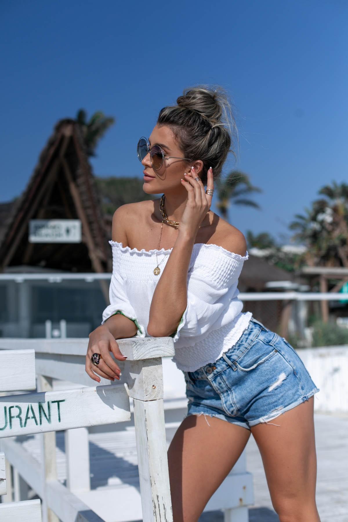 Blusa Girassol Vera Tricot Feminino Cropped Franzido Branco / Verde