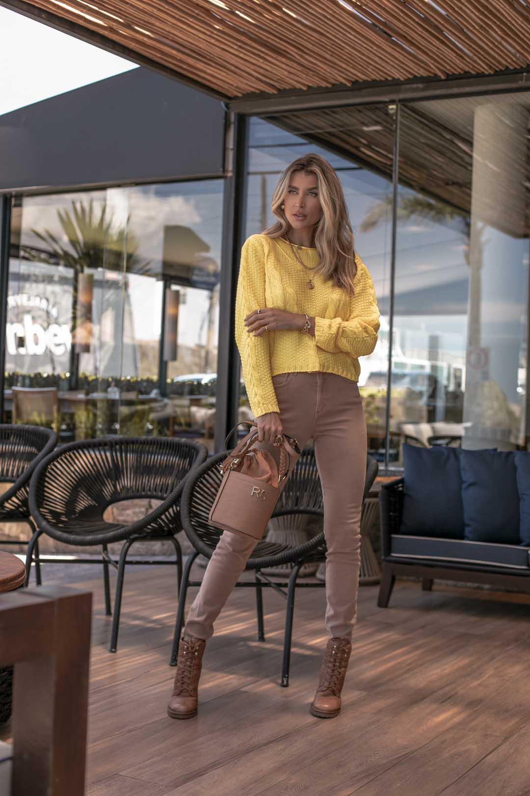 Blusa Vitória Cropped Vera Tricot Feminino Com Trança Canelada Amarelo