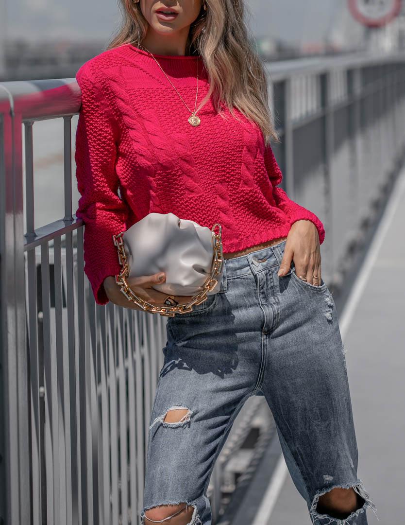 Blusa Vitória Cropped Vera Tricot Feminino Com Trança Canelada Pink
