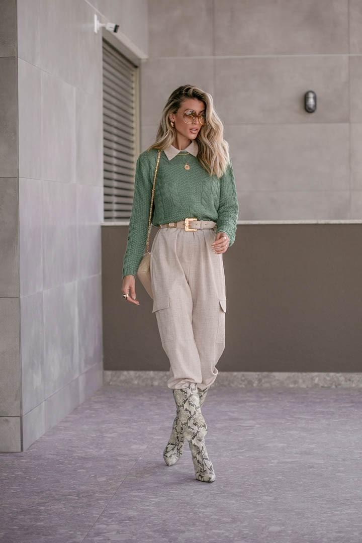 Blusa Vitória Cropped Vera Tricot Feminino Com Trança Canelada Verde