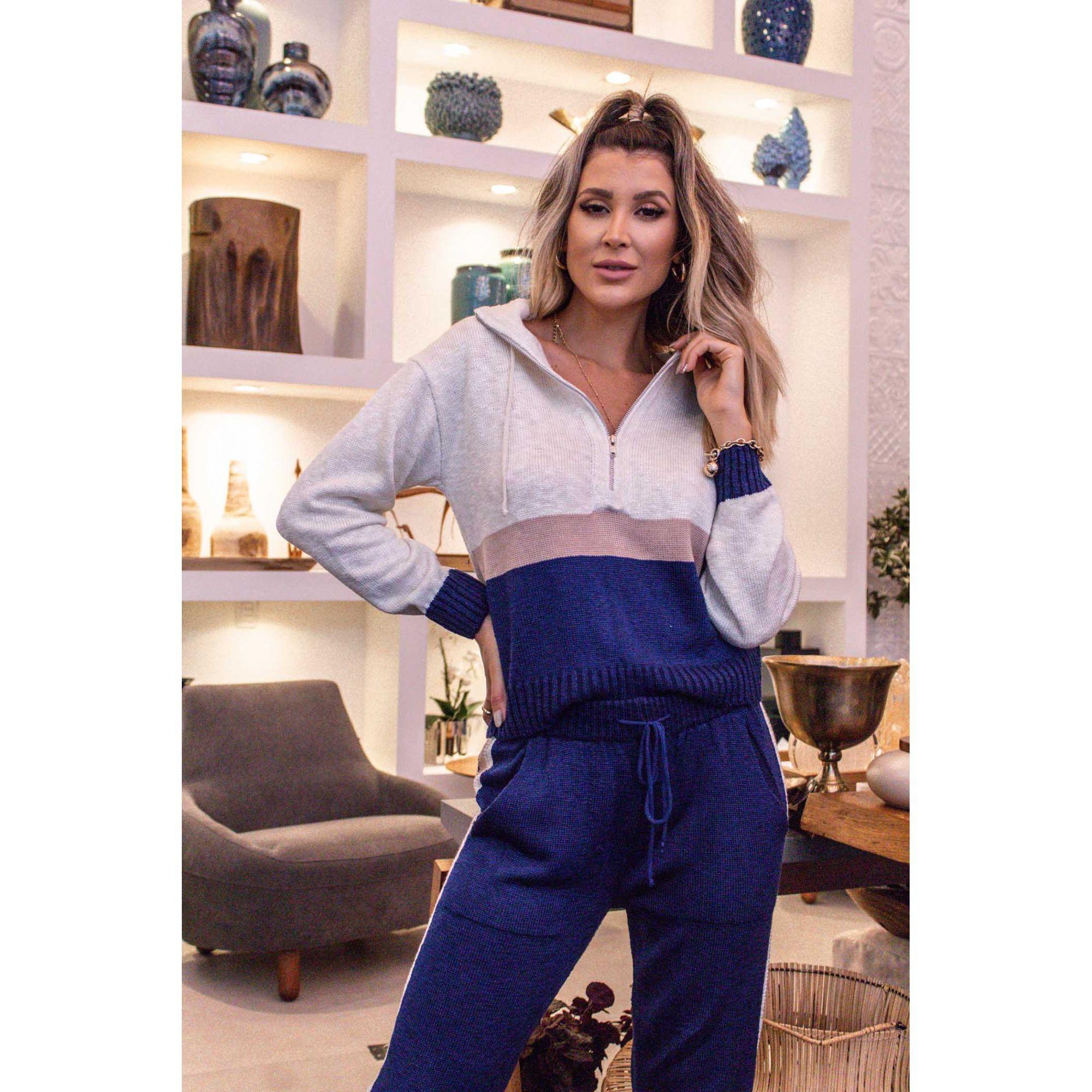 Calça + Blusa Faixas Azul Vera Tricot