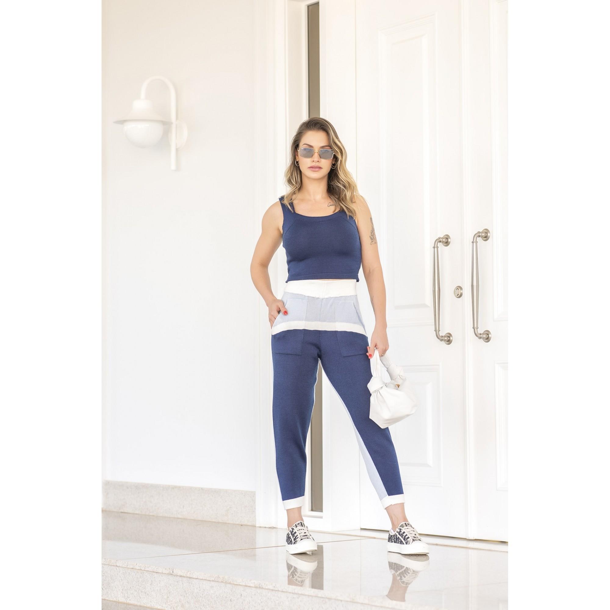 Calça Larissa Jogging Vera Tricot Feminino  Natural / Azul / Marinho