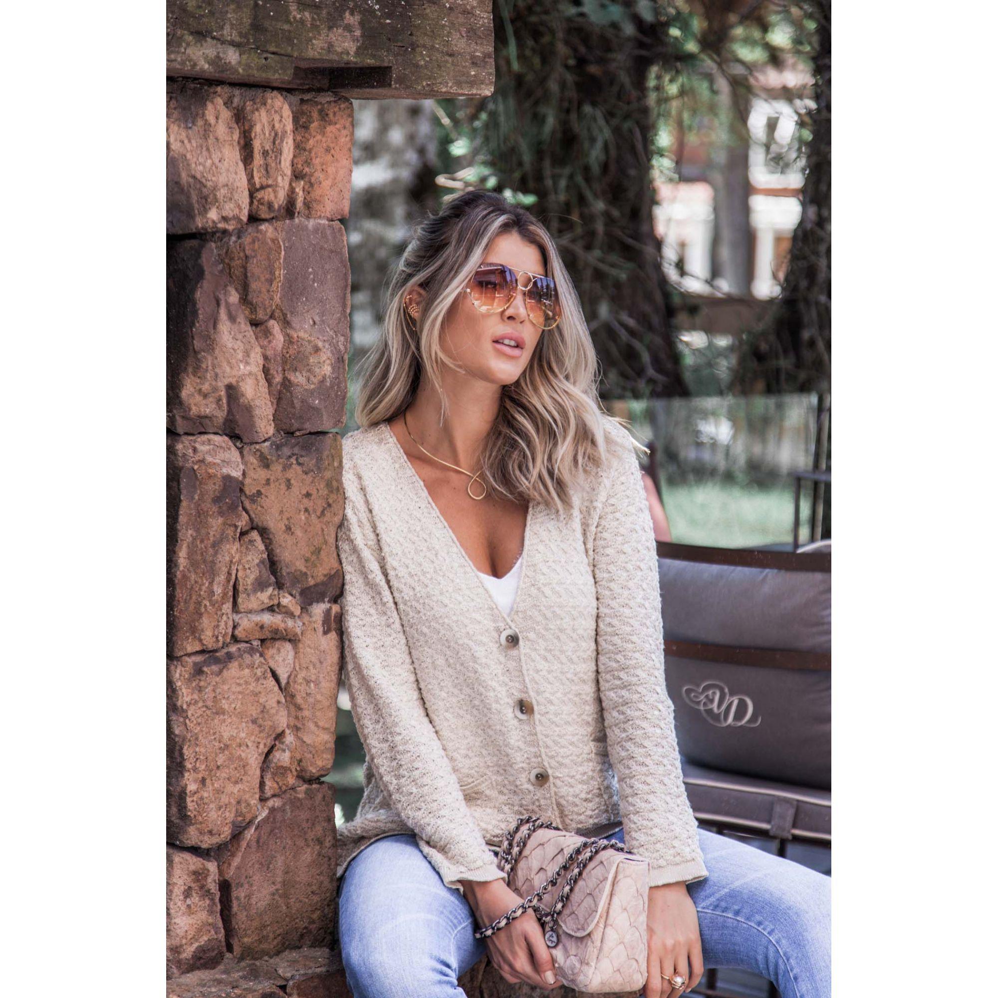 Casaco Bolsos Vera Tricot Feminino Areia