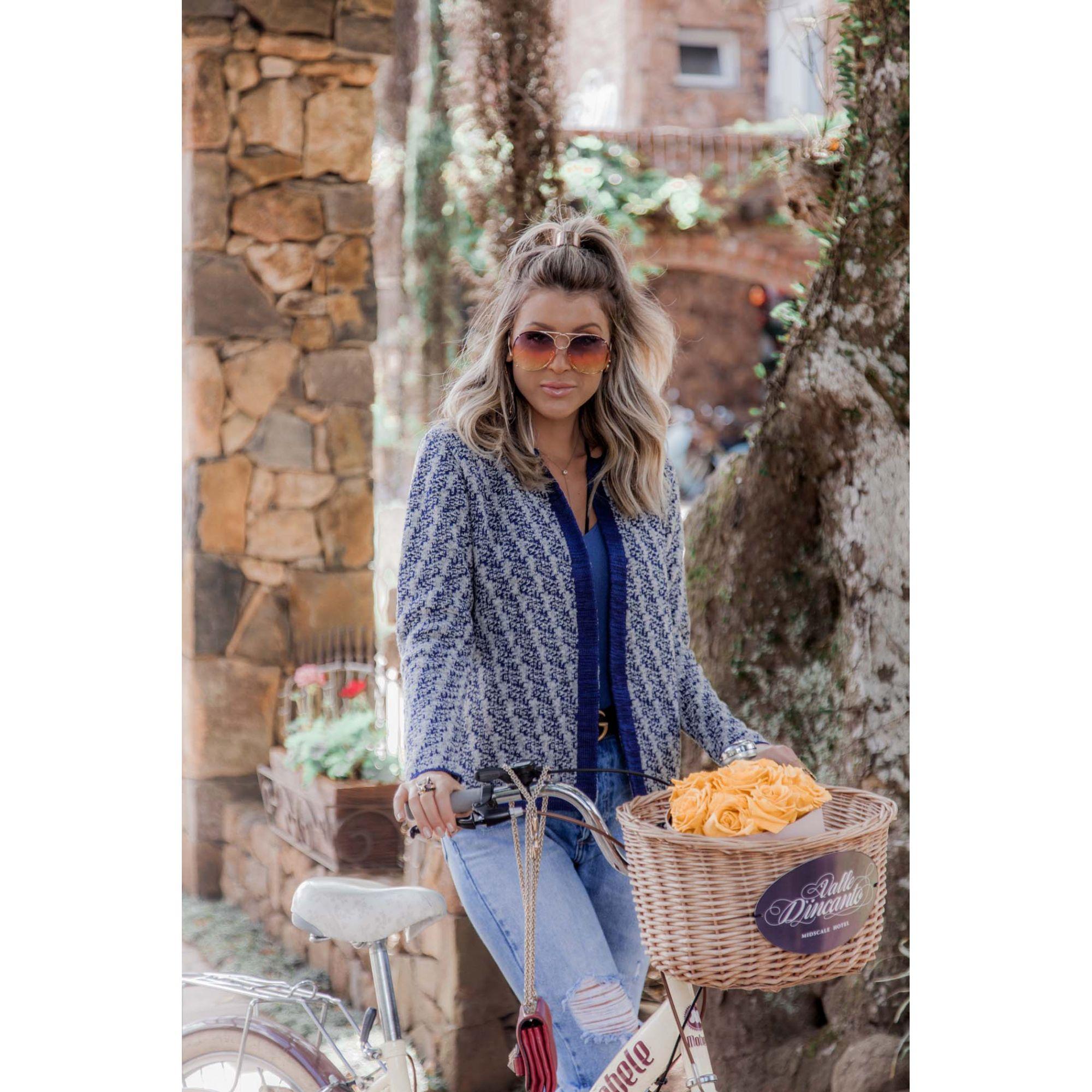 Casaco Jacquard Vera Tricot Feminino Cinza / Azul