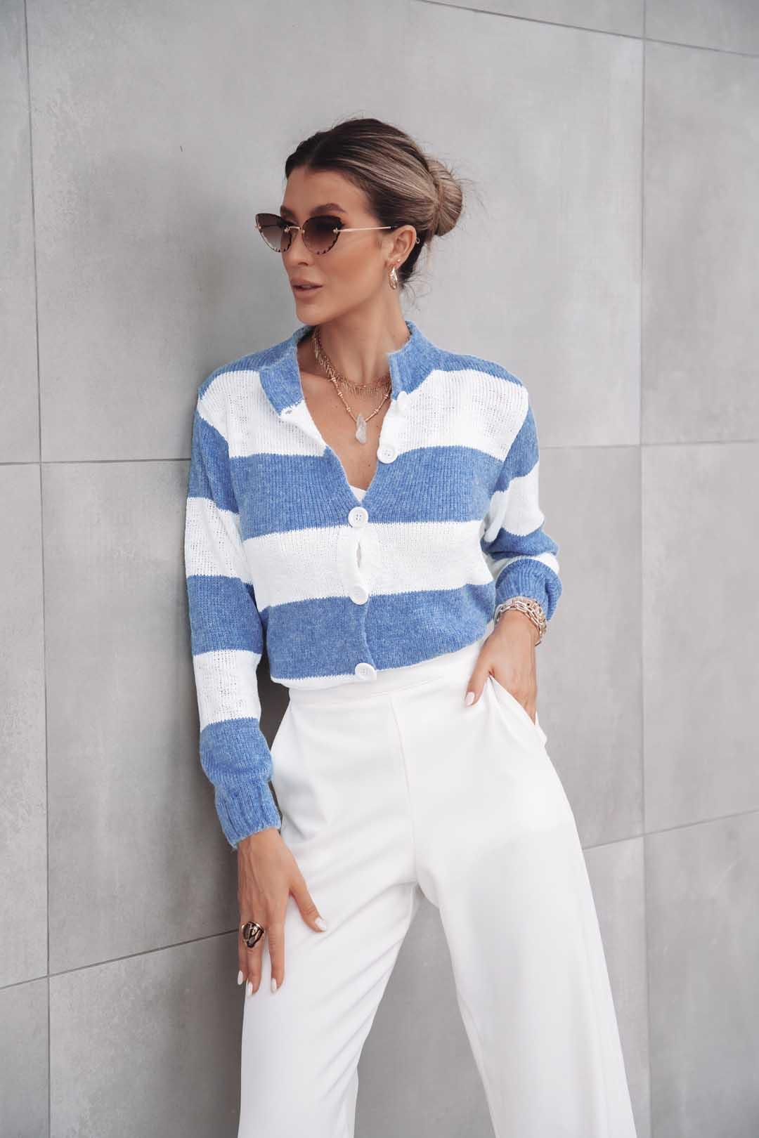 Cardigan Lila Vera Tricot Londres Feminino Listrado Azul / Branco