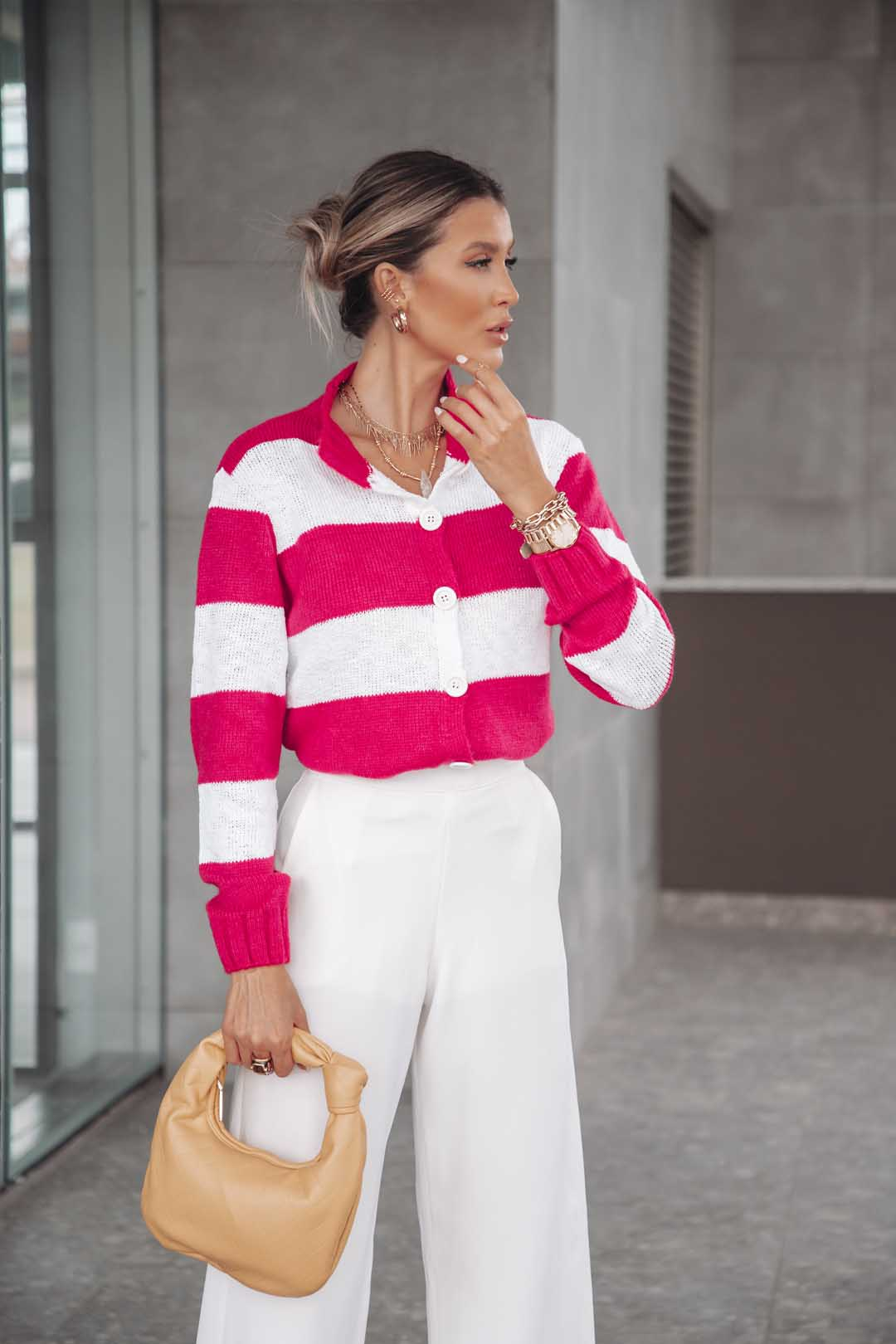 Cardigan Lila Vera Tricot Londres Feminino Listrado Pink / Branco