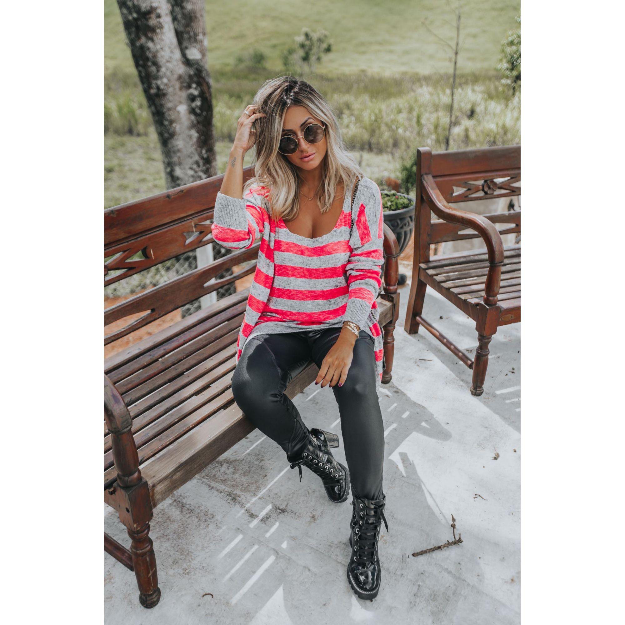 Casaco Listrado + Regata Pink Neon Vera Tricot