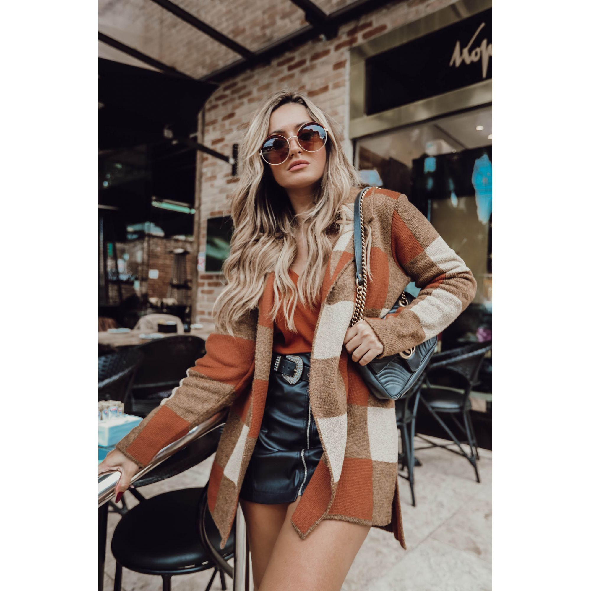Casaco Quadriculado Vera Tricot Mullet Gola Blazer Feminino Marrom / Bege