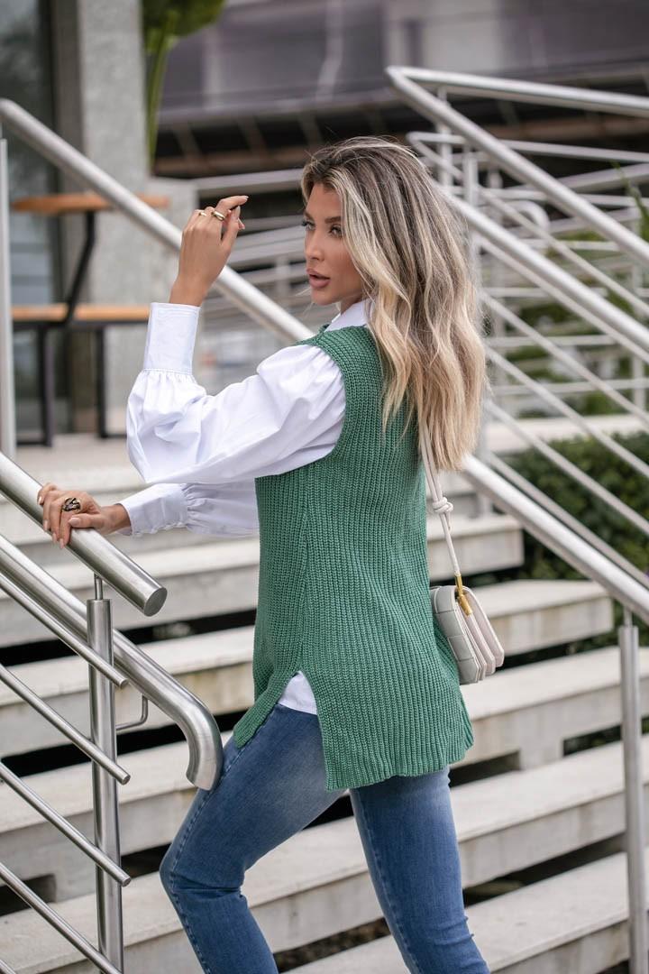 Colete Betânia Vera Tricot Fang Mulet Feminino Verde