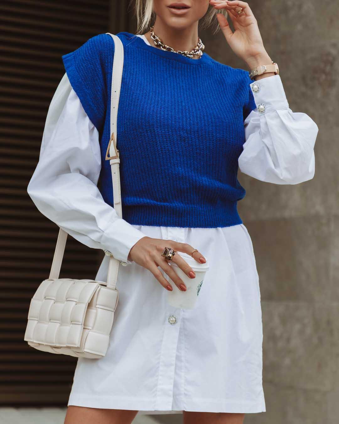 Colete Karen Vera Tricot De Laço Azul