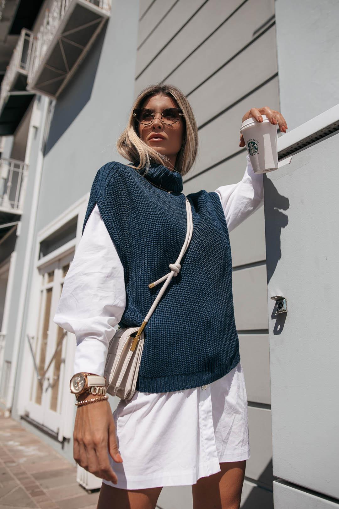 Colete Romana Vera Tricot Fang Com Gola Feminino Azul Marinho