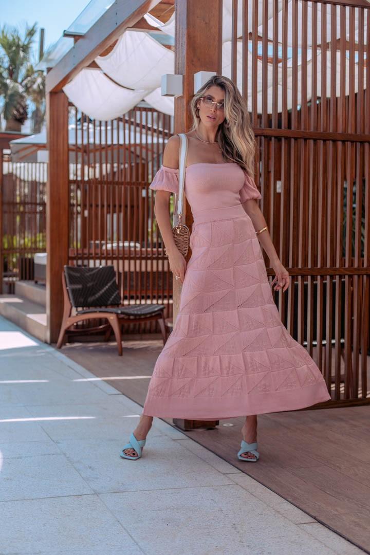 Conjunto Alicia Saia + Blusa/Cropped Vera Tricot Rosa