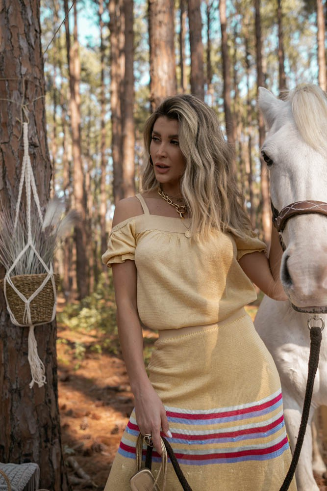 Conjunto Luna Blusa Bata + Saia Feminino Amarelo