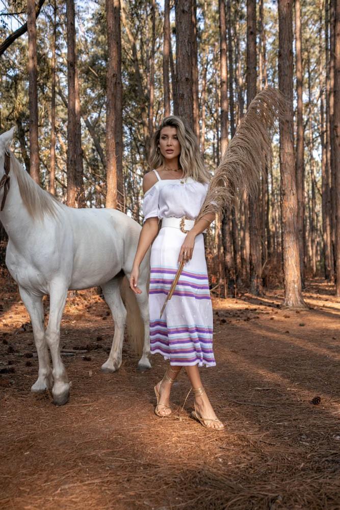 Conjunto Luna Blusa Bata + Saia Feminino Branco
