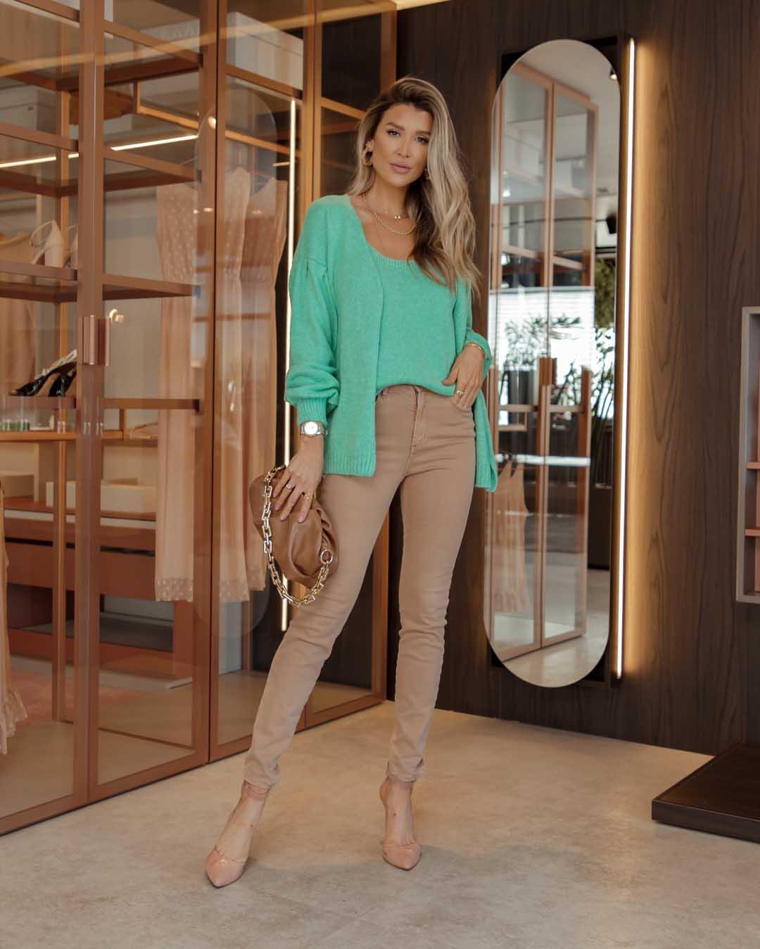 Conjunto Poliana Vera Tricot Feminino Verde