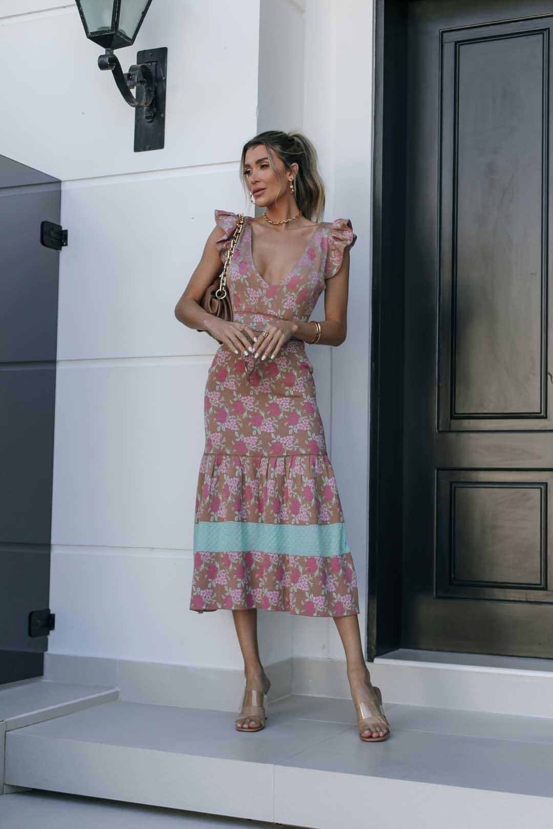 Conjunto Tricot Shakira - Estampa Floral Bege
