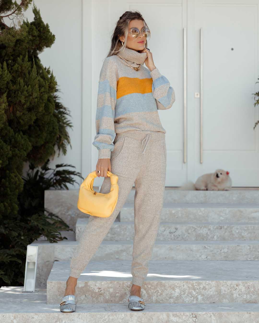 Conjunto Valentina Vera Tricot Areia/Azul/Amarelo