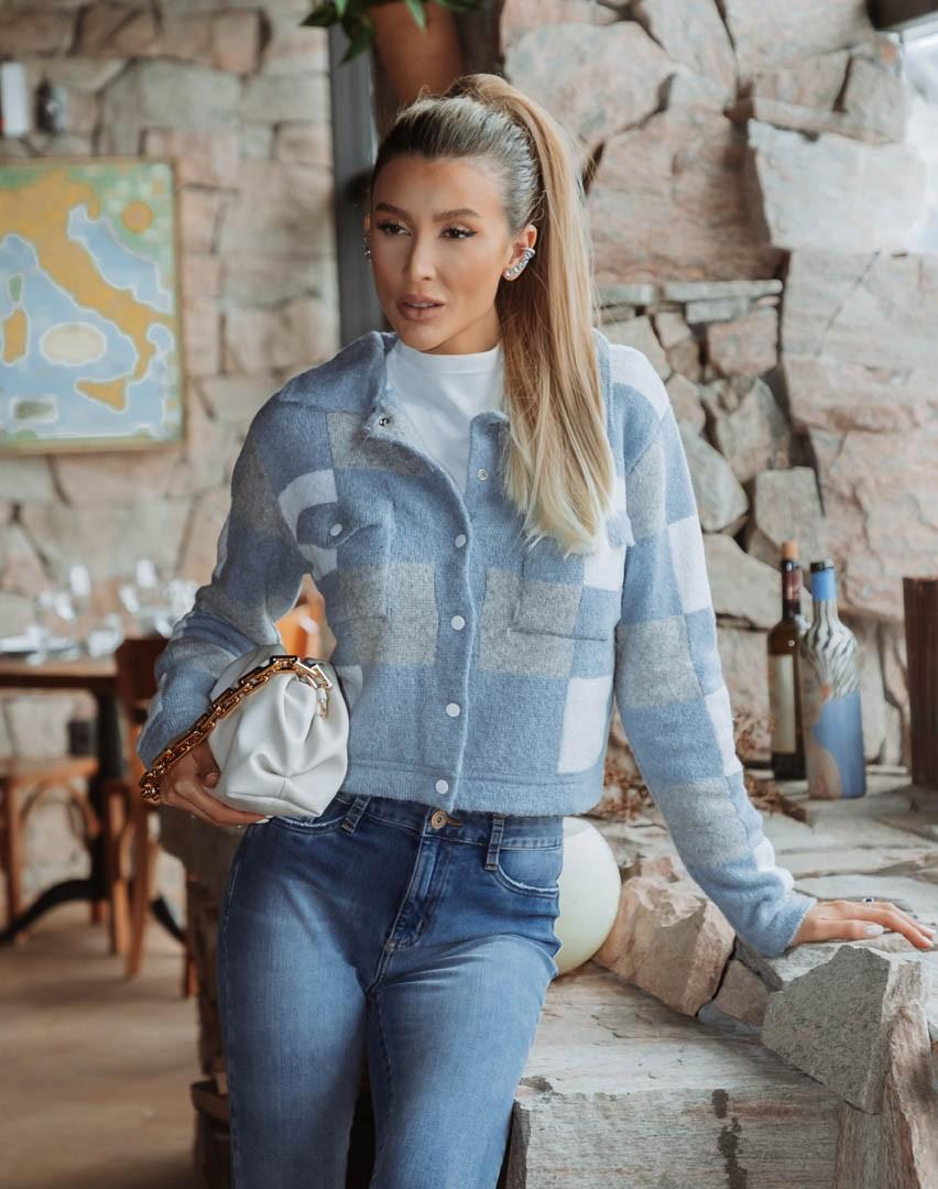 Jaqueta Celine Vera Tricot Quadriculada Azul / Branco