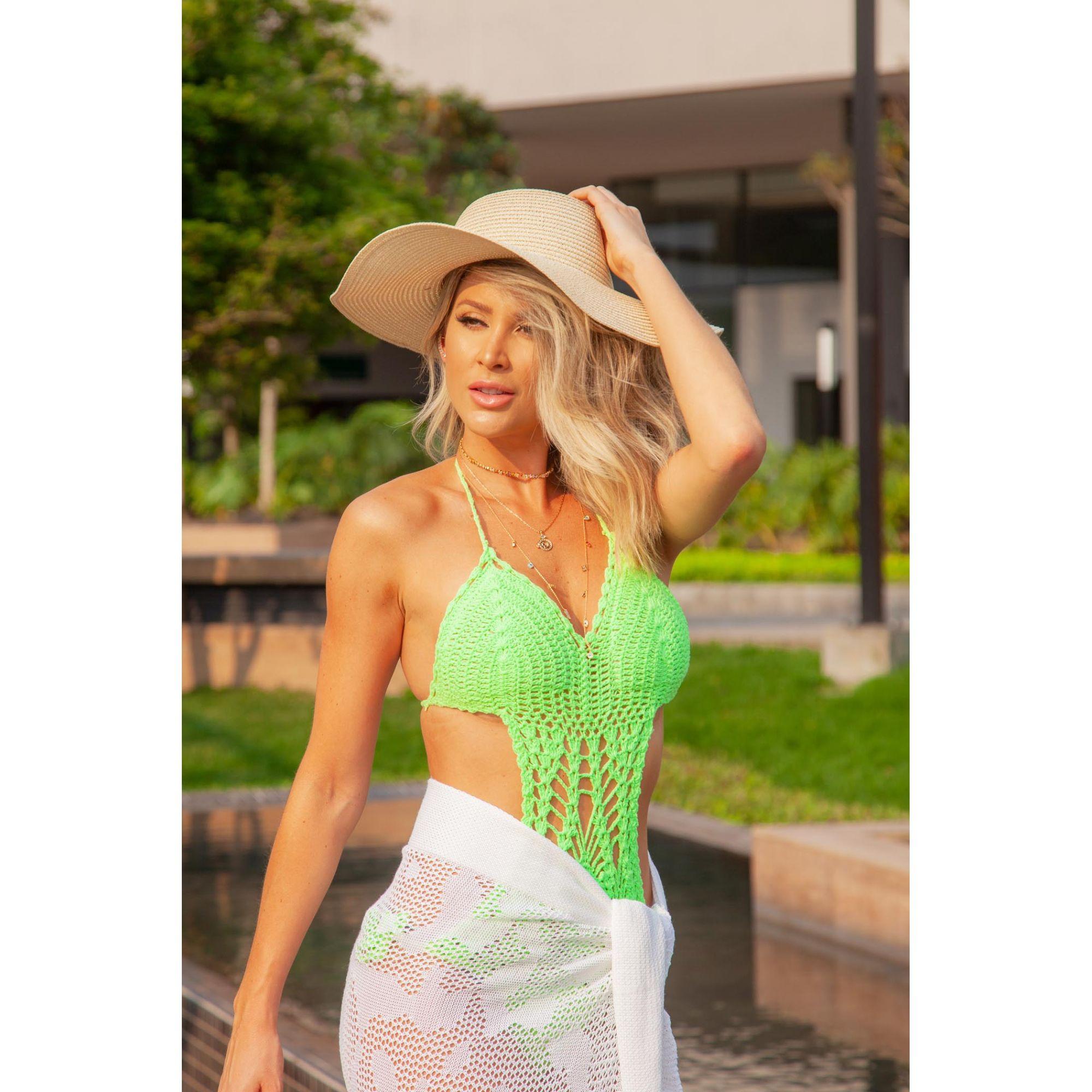 Maiô Vera Tricot Rendado Crochê Bojo Feminino Verde Neon