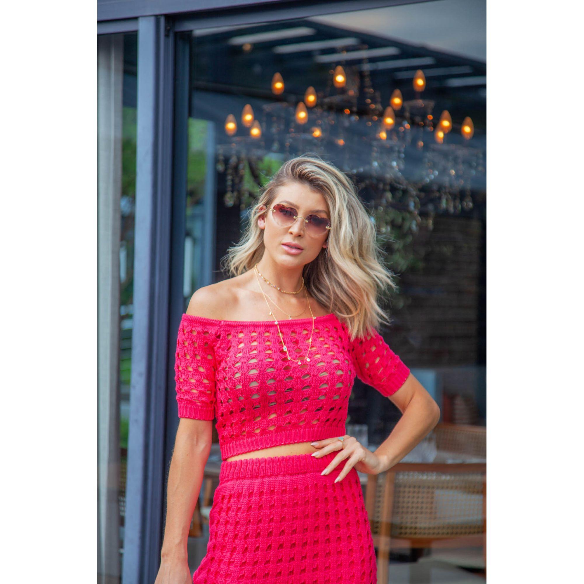 Conjunto Saia Curta Franjas + Cropped Pink Vera Tricot