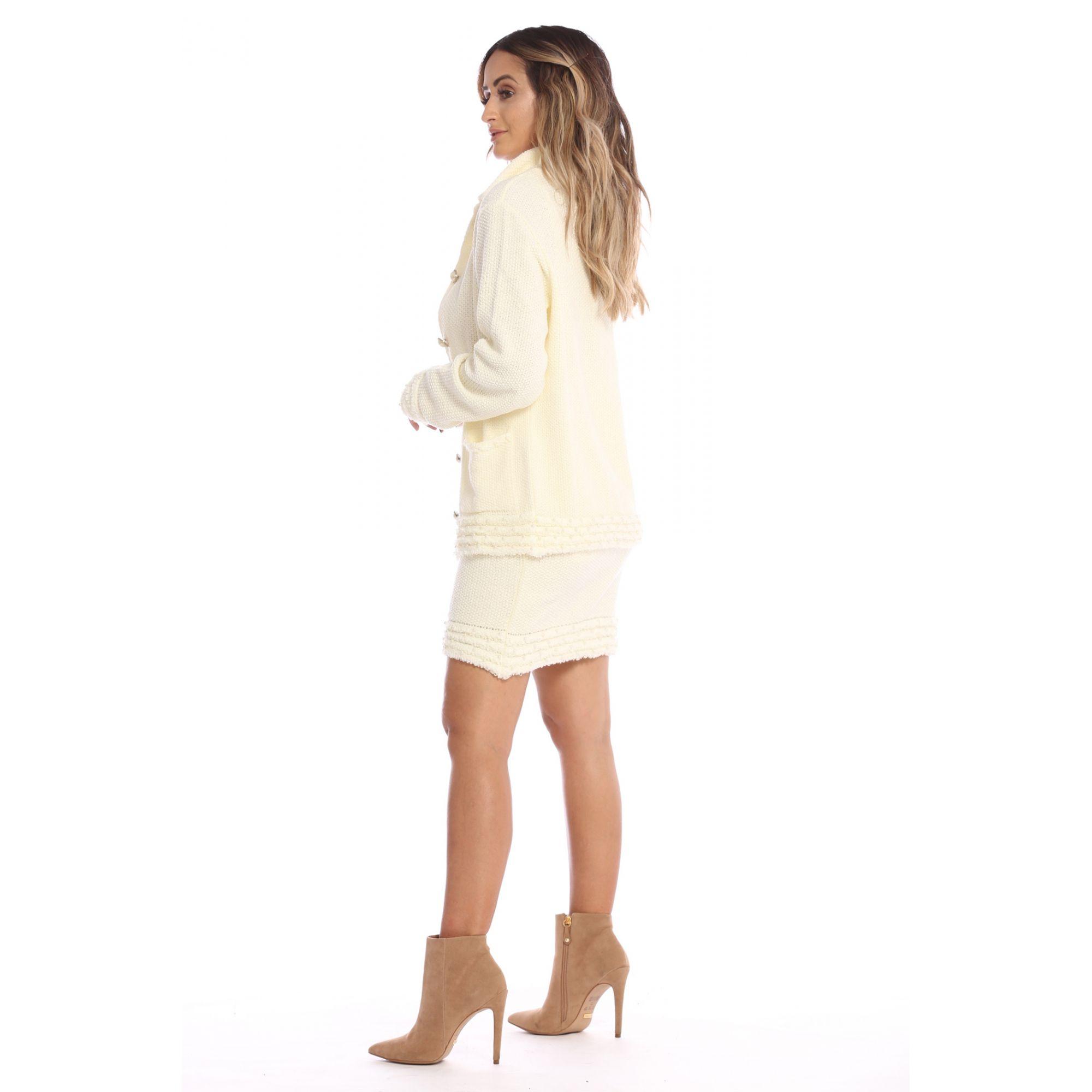 Saia Curta Vera Tricot Pérola Feminino Off White