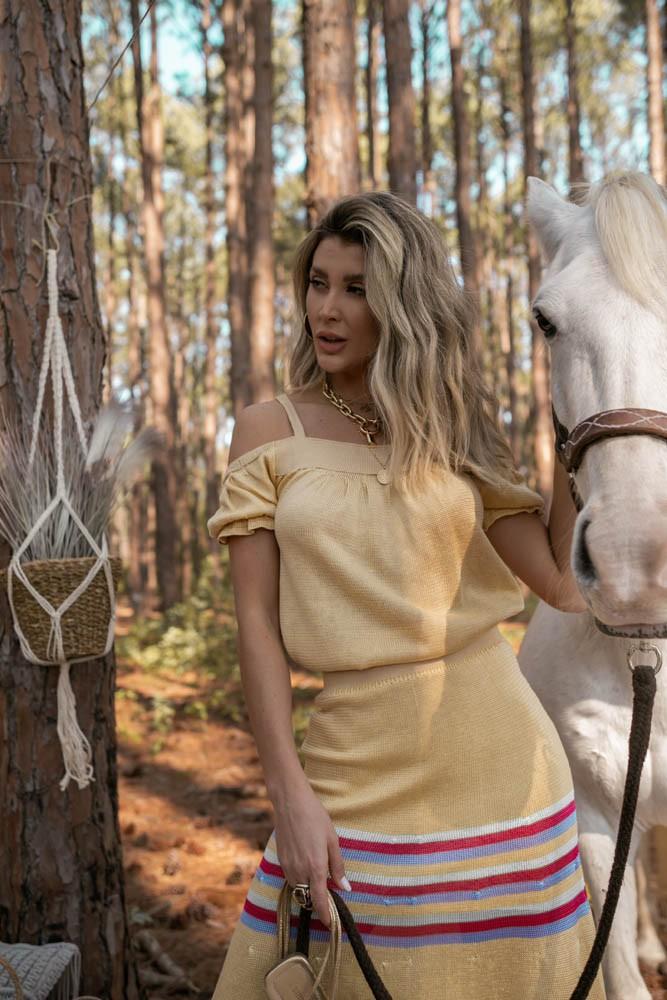 Saia Feminina Vera Tricot Amarela Com Listra Verde / Pink / Lilas
