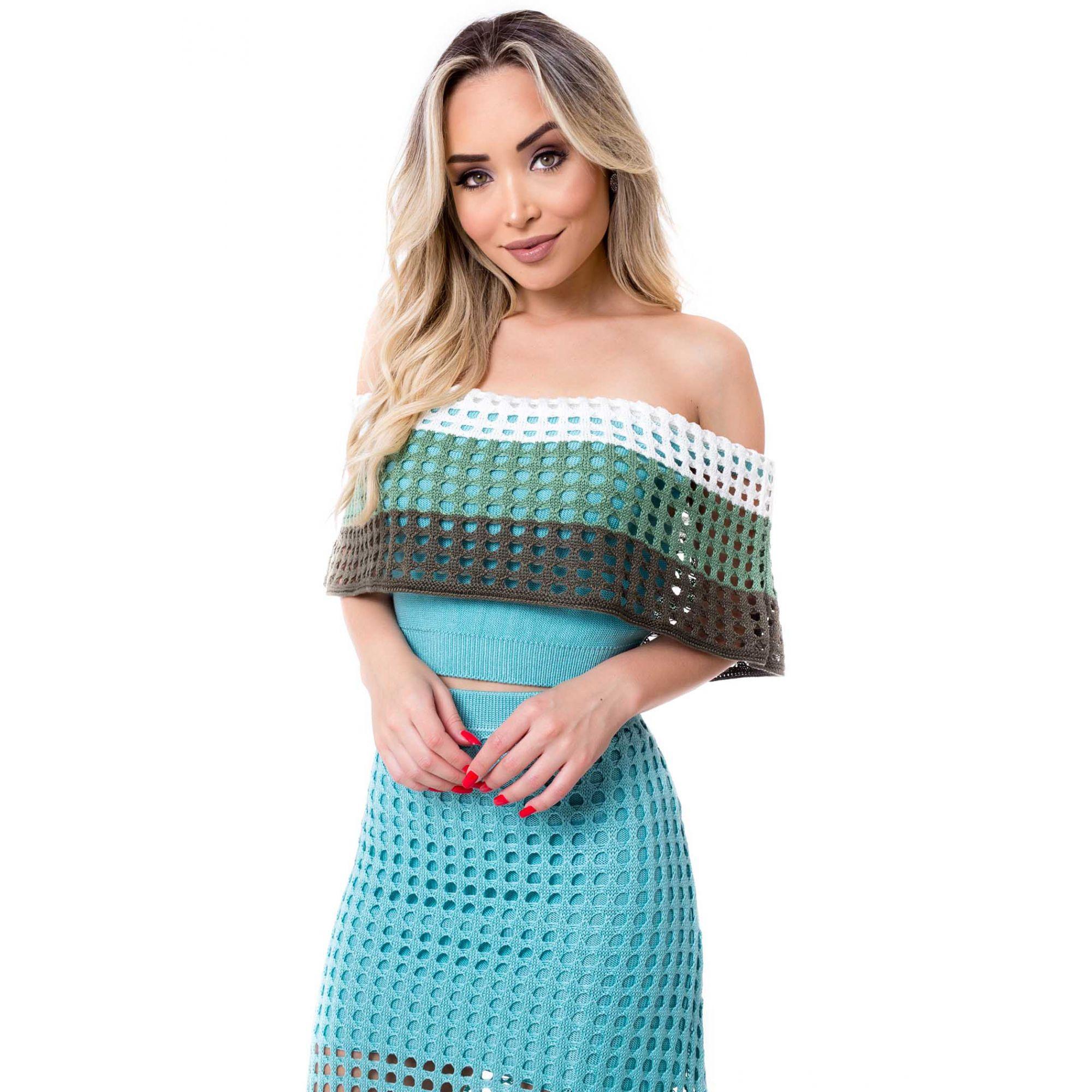 Saia Longa + Cropped Verde Vera Tricot