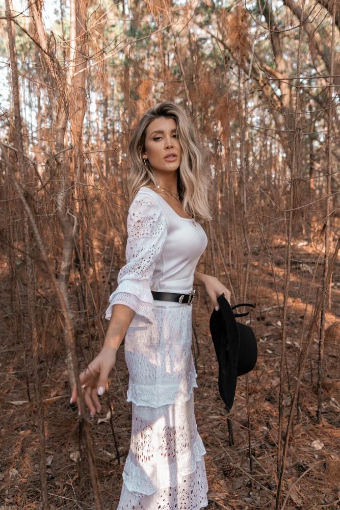 Saia Nina Vera Tricot Feminino Midi branco