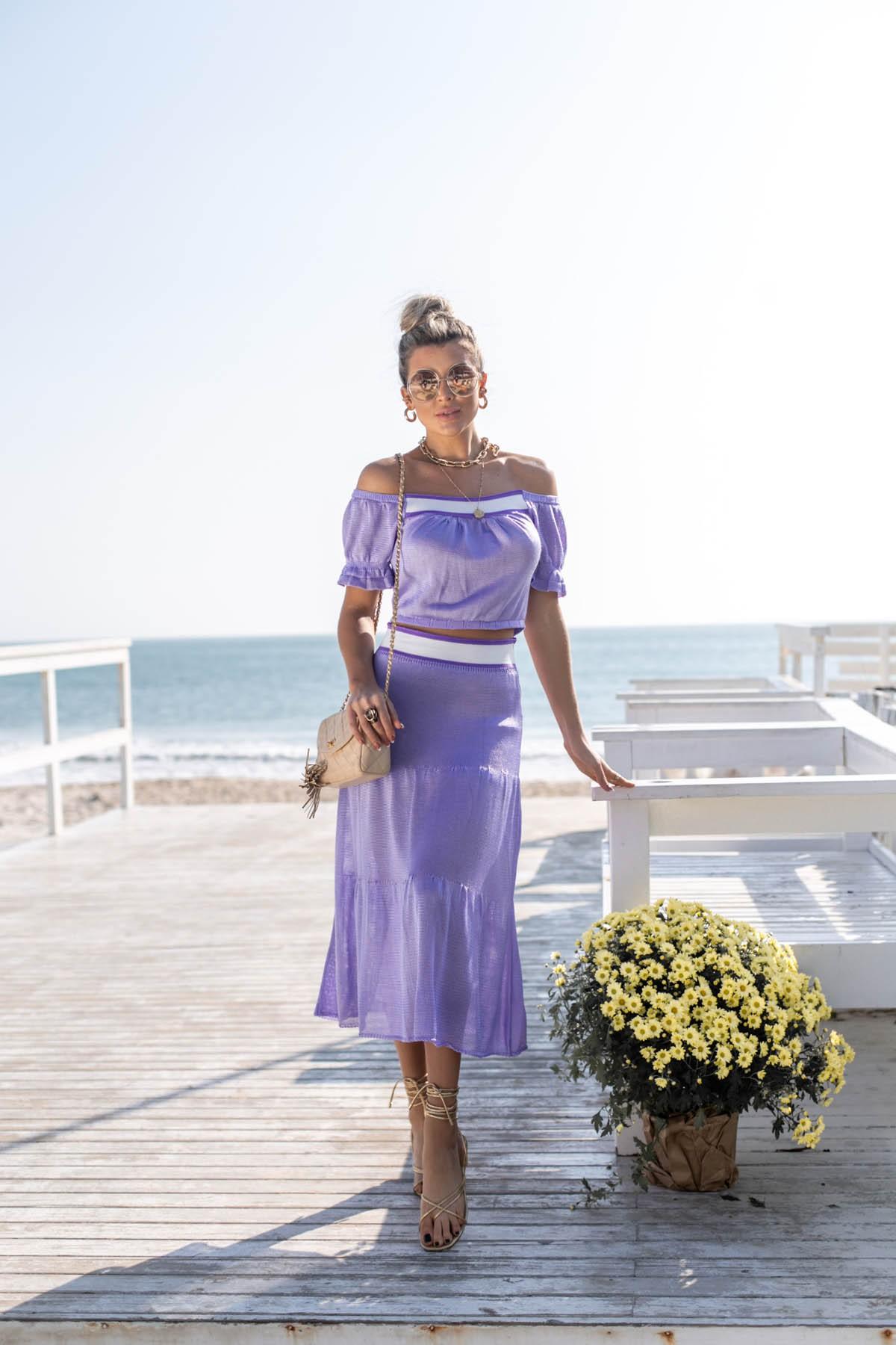 Saia Midi Hortência Vera Tricot Feminino Roxo / lilás / Branco