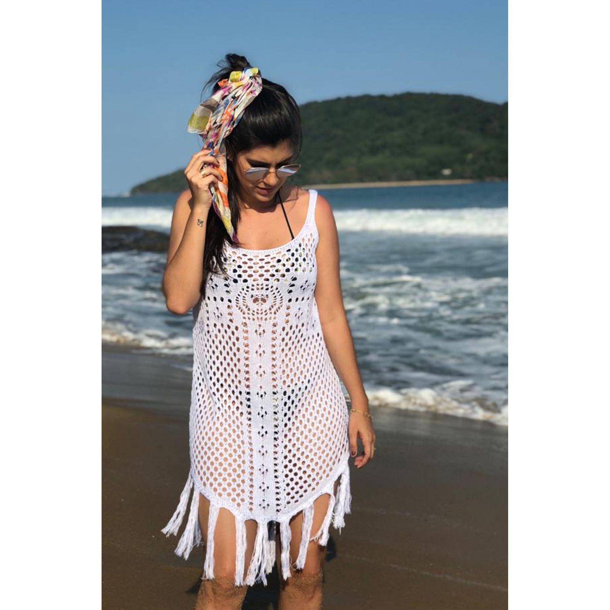 Saída De Praia Curta Vera Tricot Franjas Feminina Branca