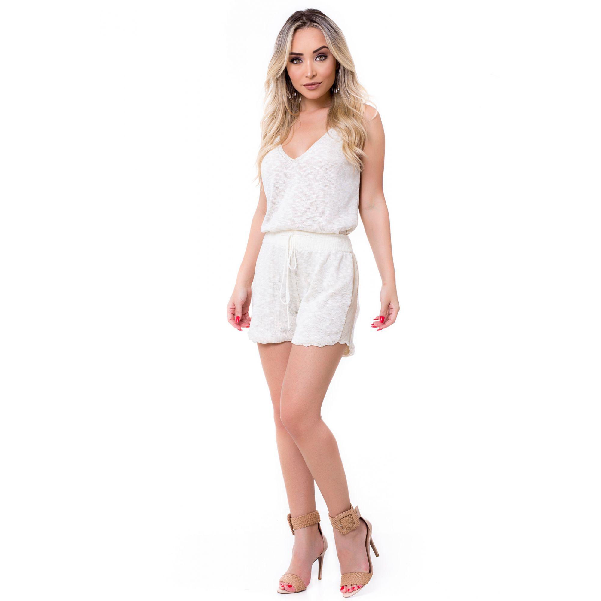 Short Curto Vera Tricot Cordão Feminino Off White