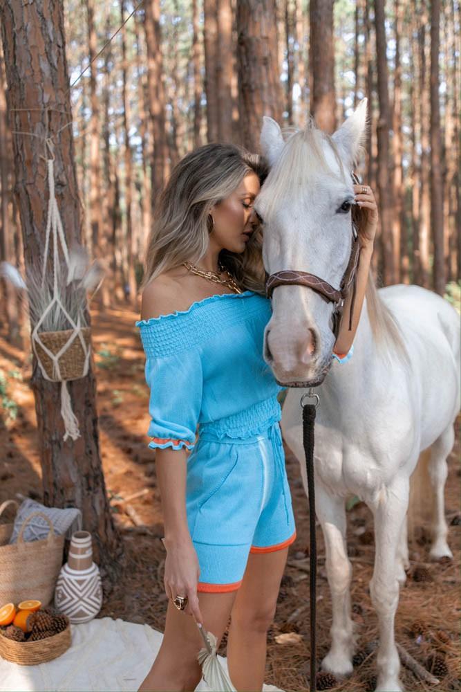 Conjunto Girassol Cropped + Short Feminino Azul / Laranja