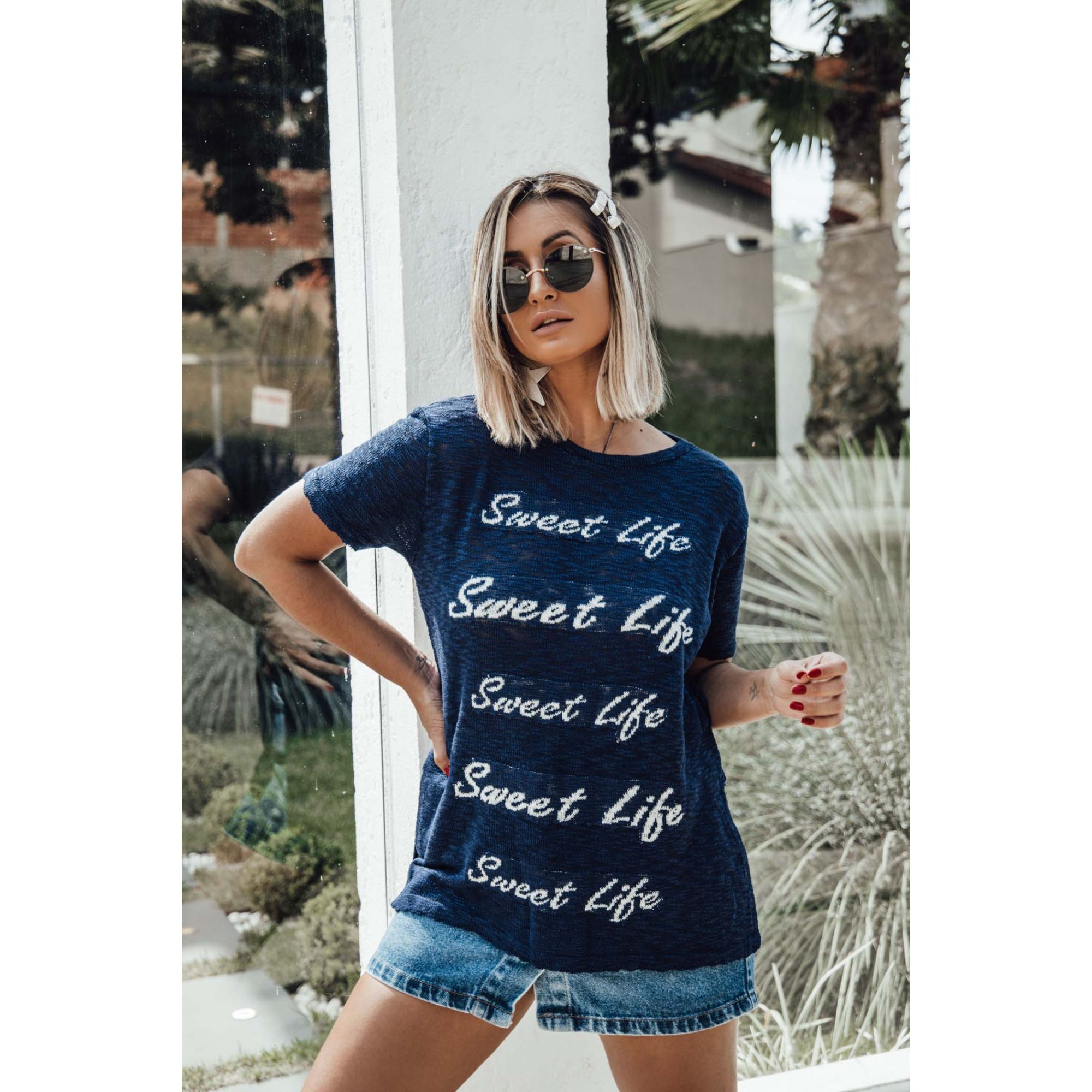 Blusa Manga Curta Frases Vera Tricot Feminino Azul