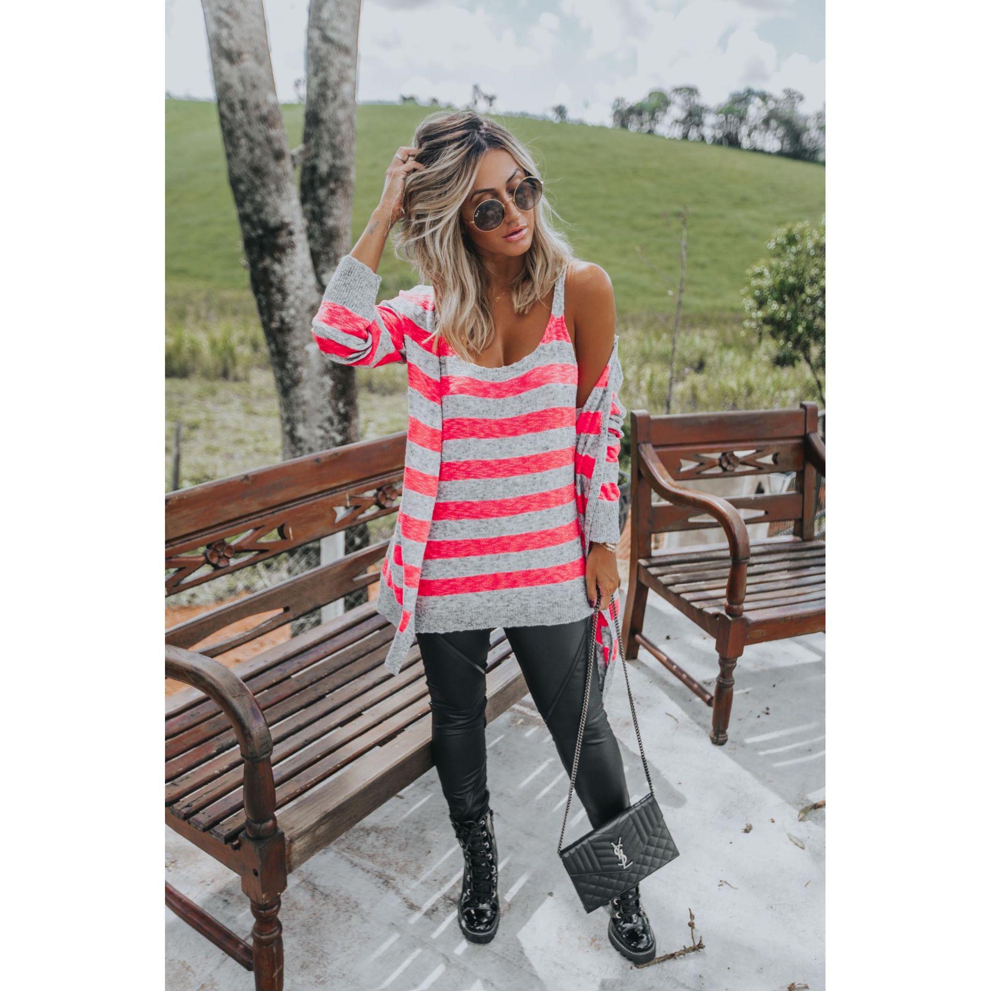 Blusa Regata Listrada Vera Tricot Feminino Pink Neon / Cinza