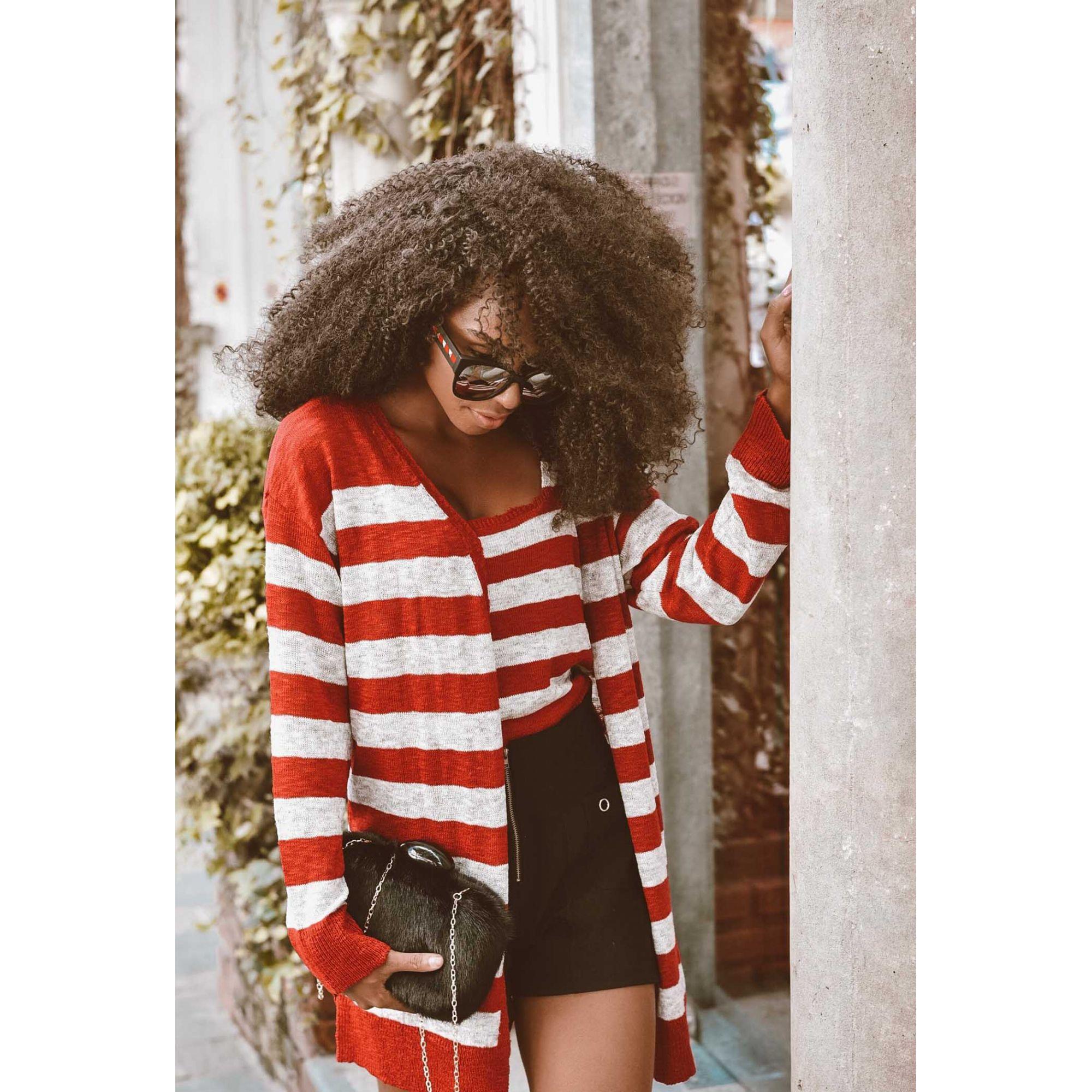 Blusa Regata Listrada Vera Tricot Feminino Vermelho / Off White