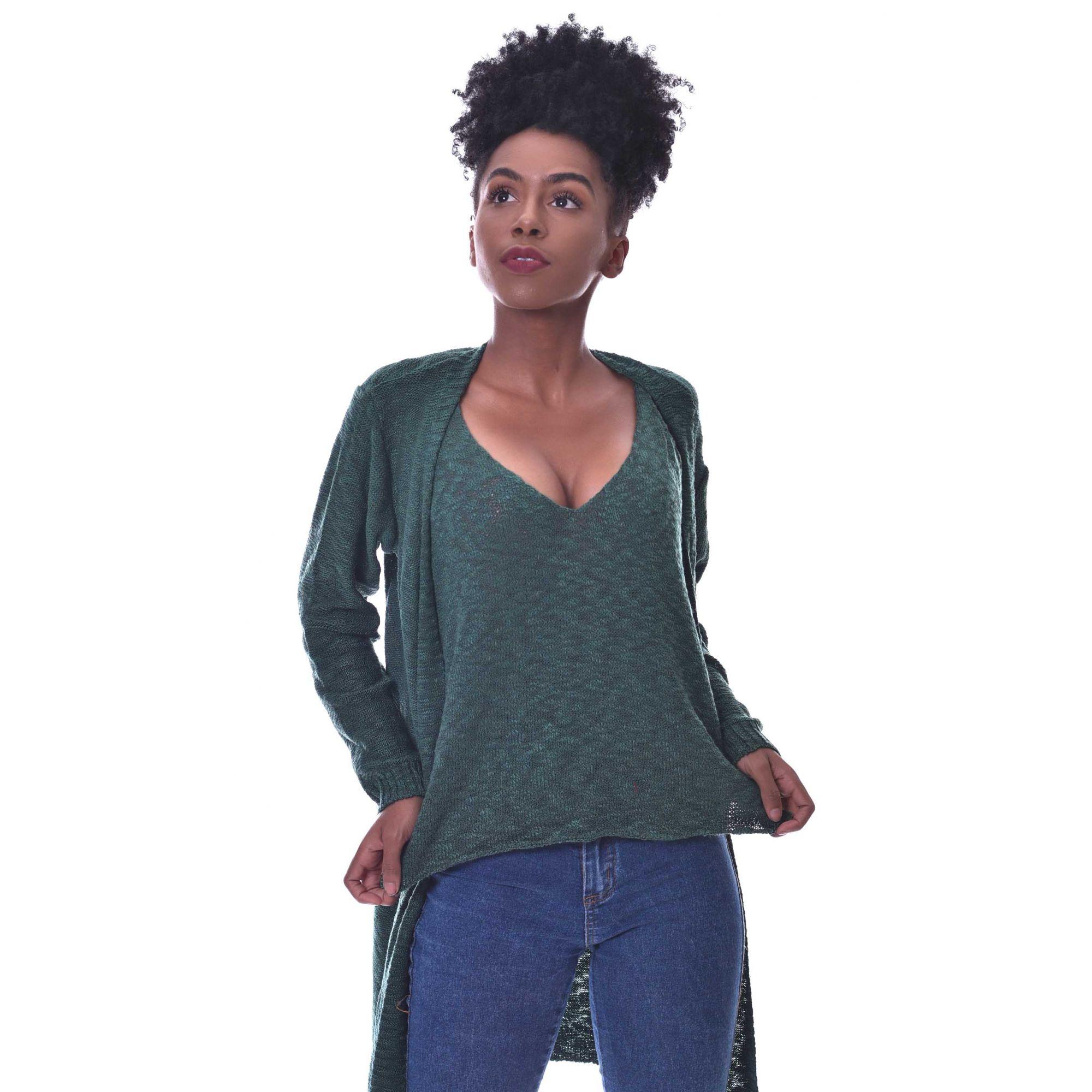 Blusa Regata Vera Tricot Feminino Verde