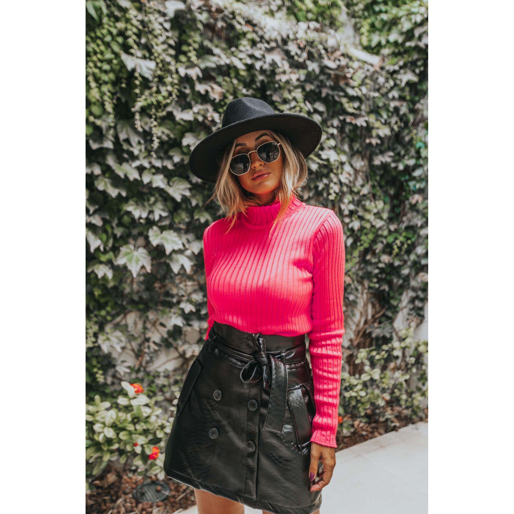 Blusa Vera Tricot Cacharrel Feminino Pink Neon
