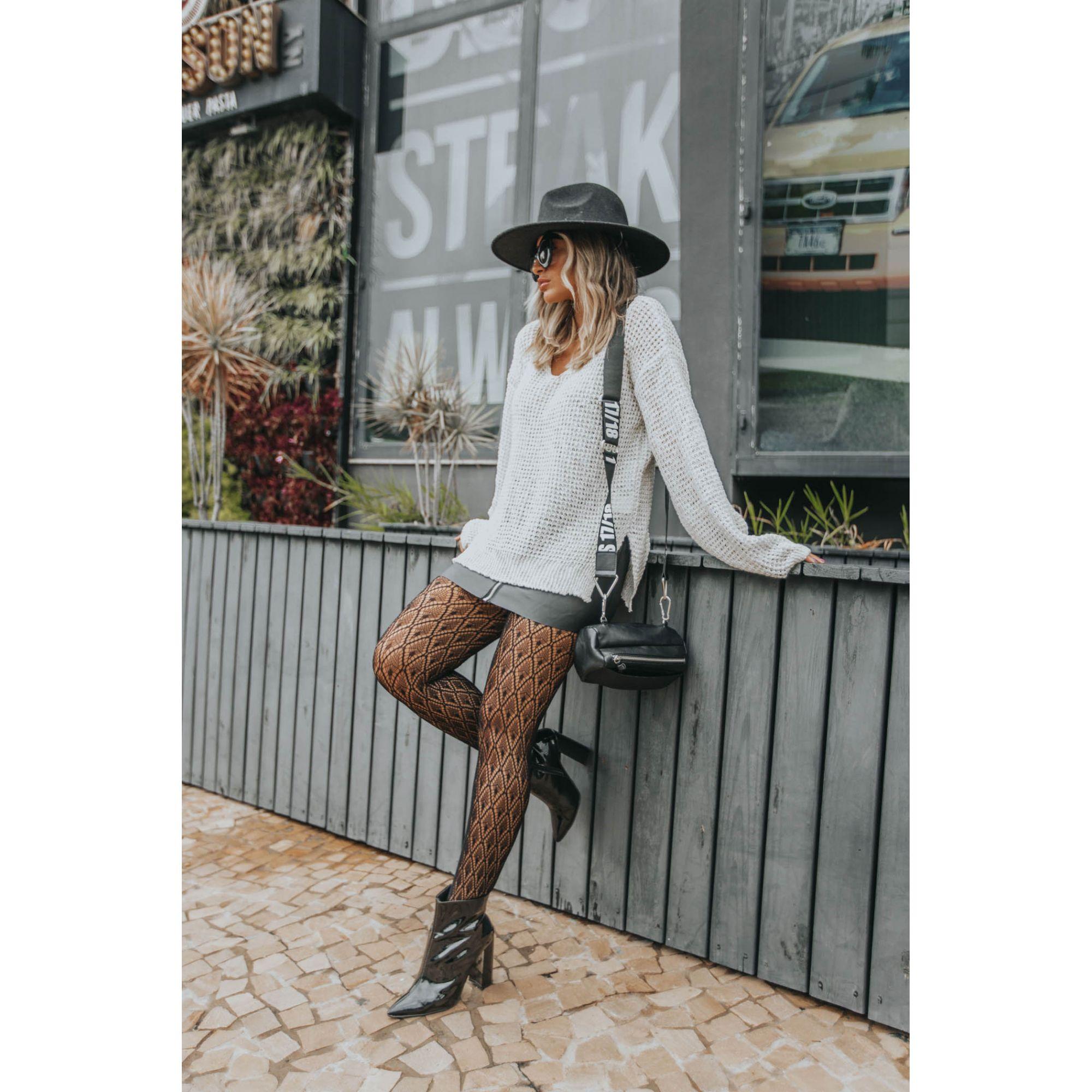 Blusa Vera Tricot Decote V Lurex Feminino Off White