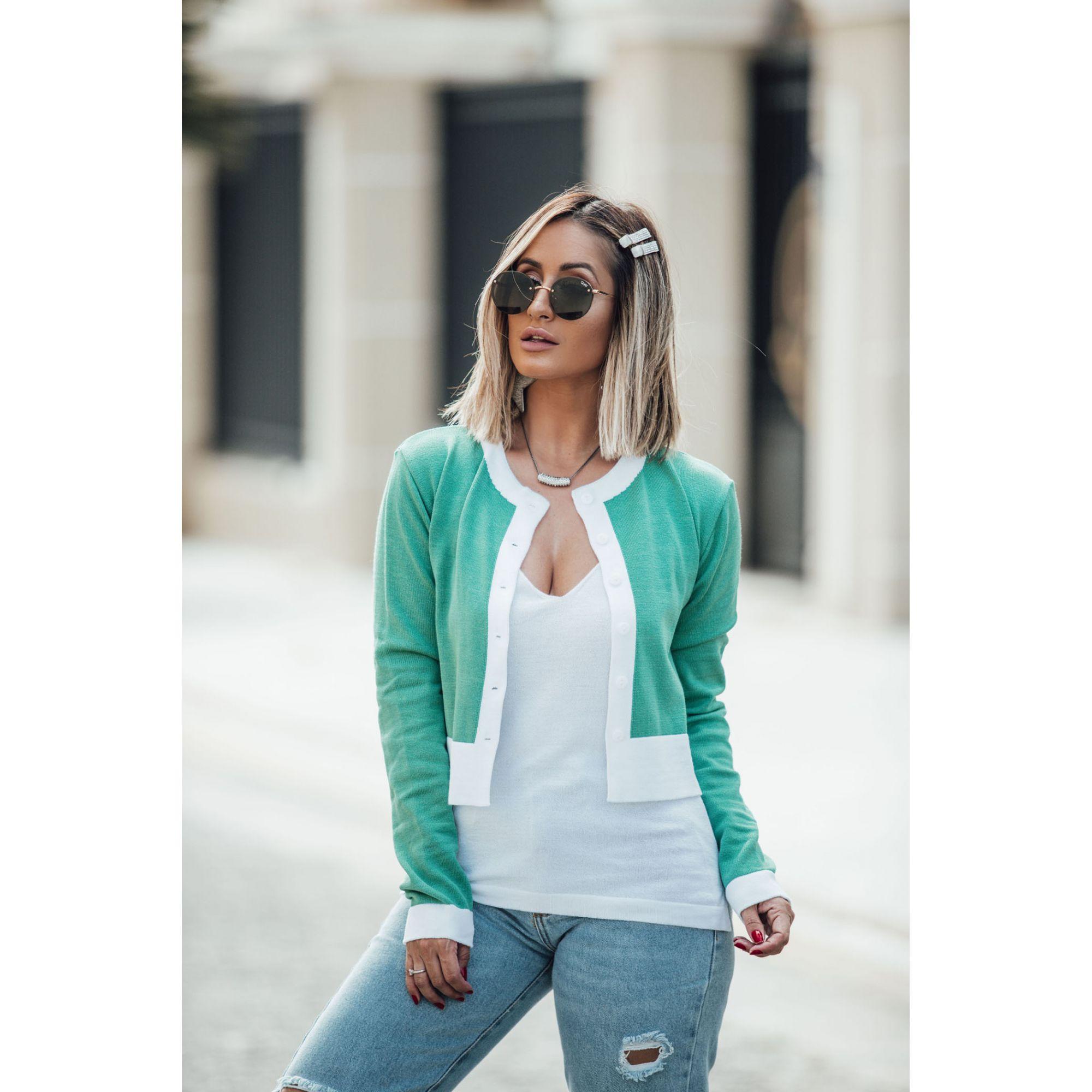 Casaco Curto Vera Tricot Manga Longa Feminino Verde / Branco