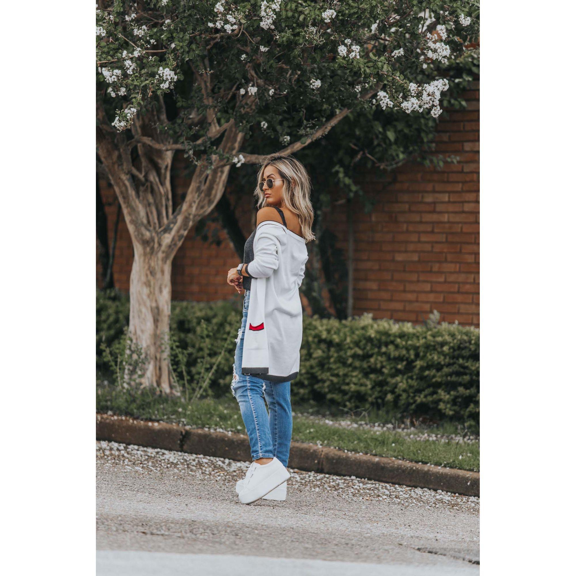 Casaco Vera Tricot Bolsos Listras Feminino Branco / Preto / Vermelho