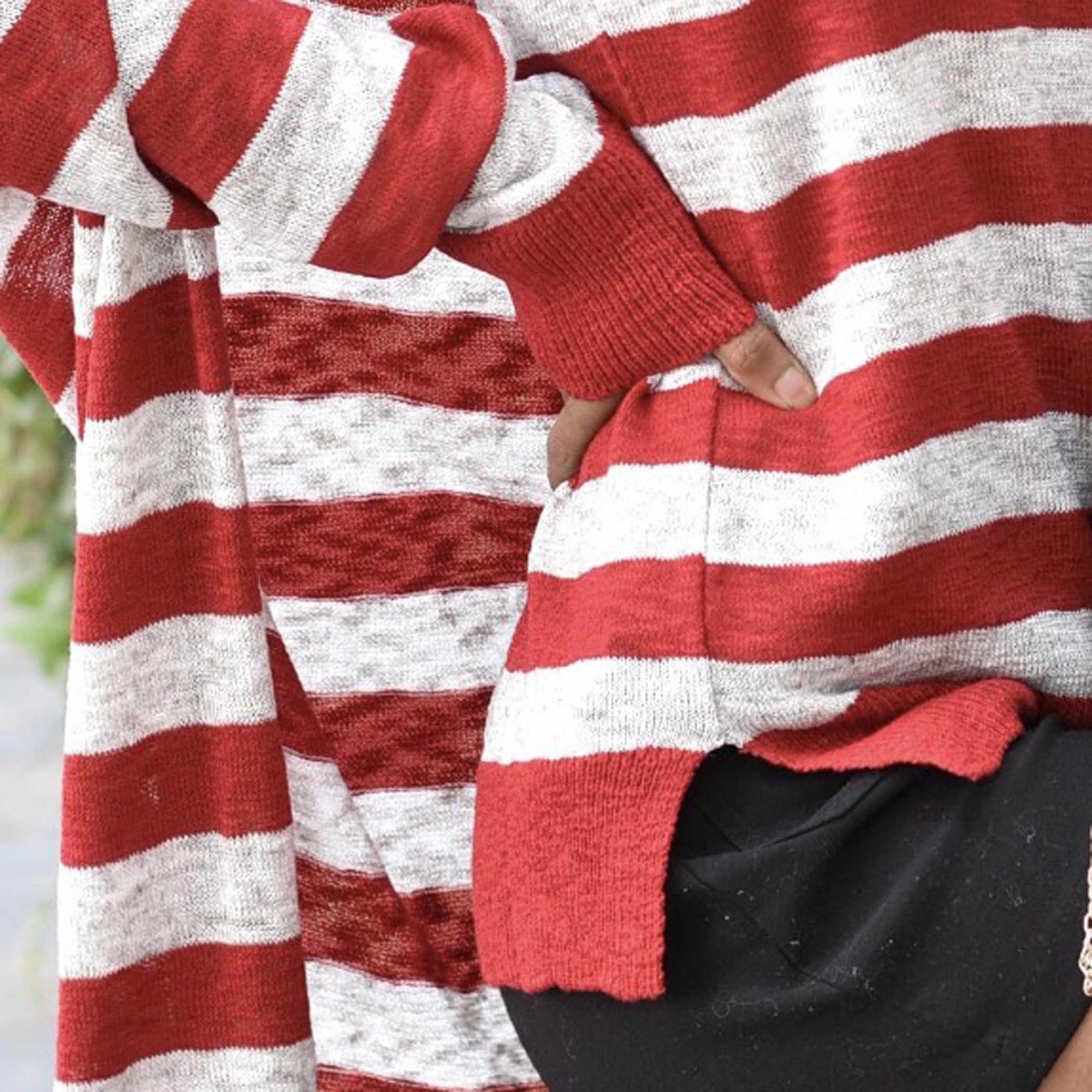 Casaco Vera Tricot Listrado Feminino Vermelho / Off White