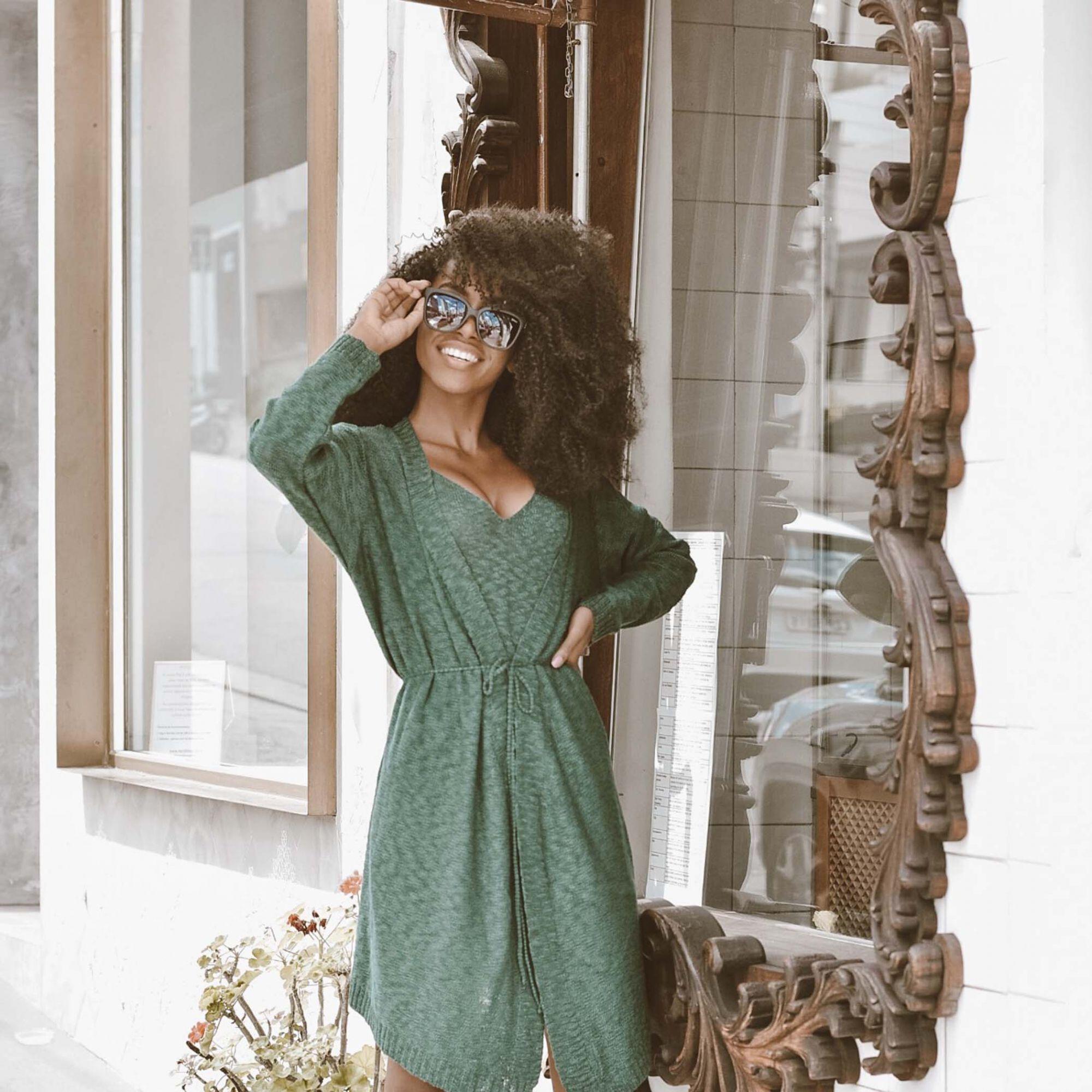 Casaco Vera Tricot Manga Longa Feminino Cordão Verde