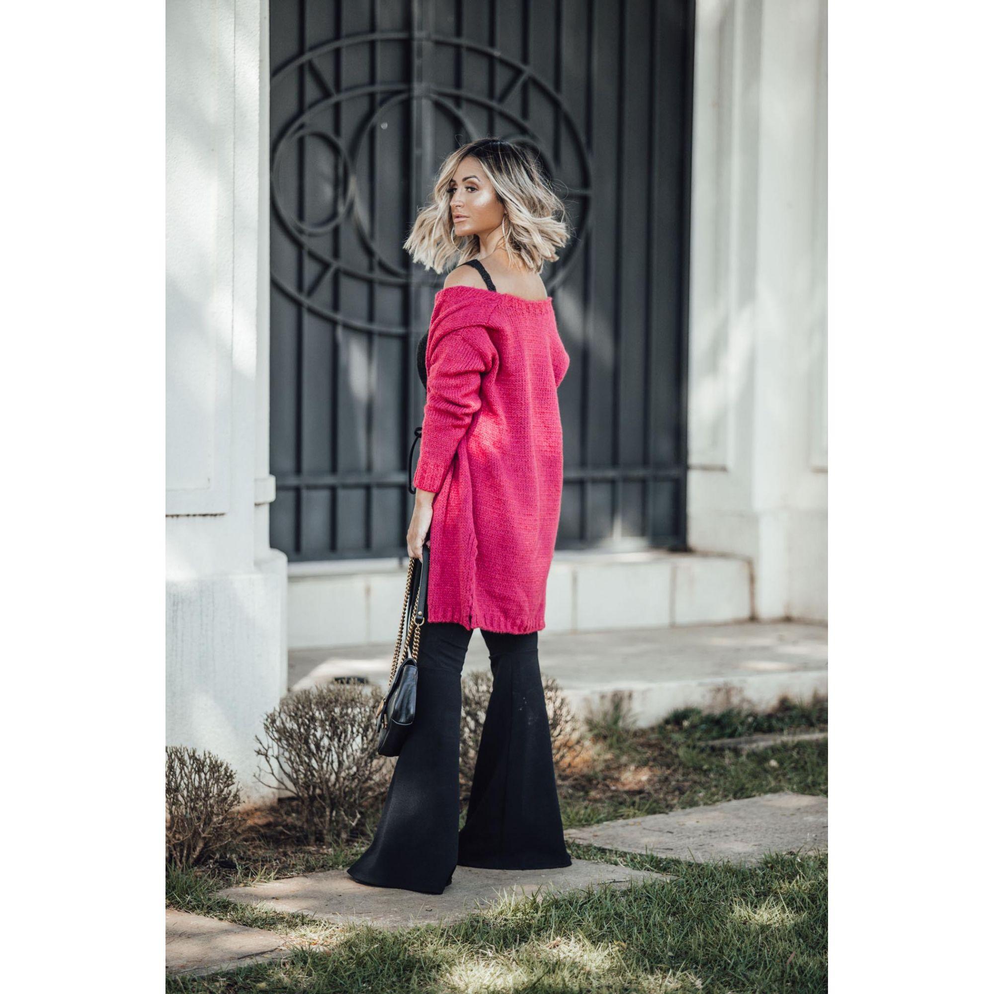 Casaco Vera Tricot Manga Longa Feminino Rosa