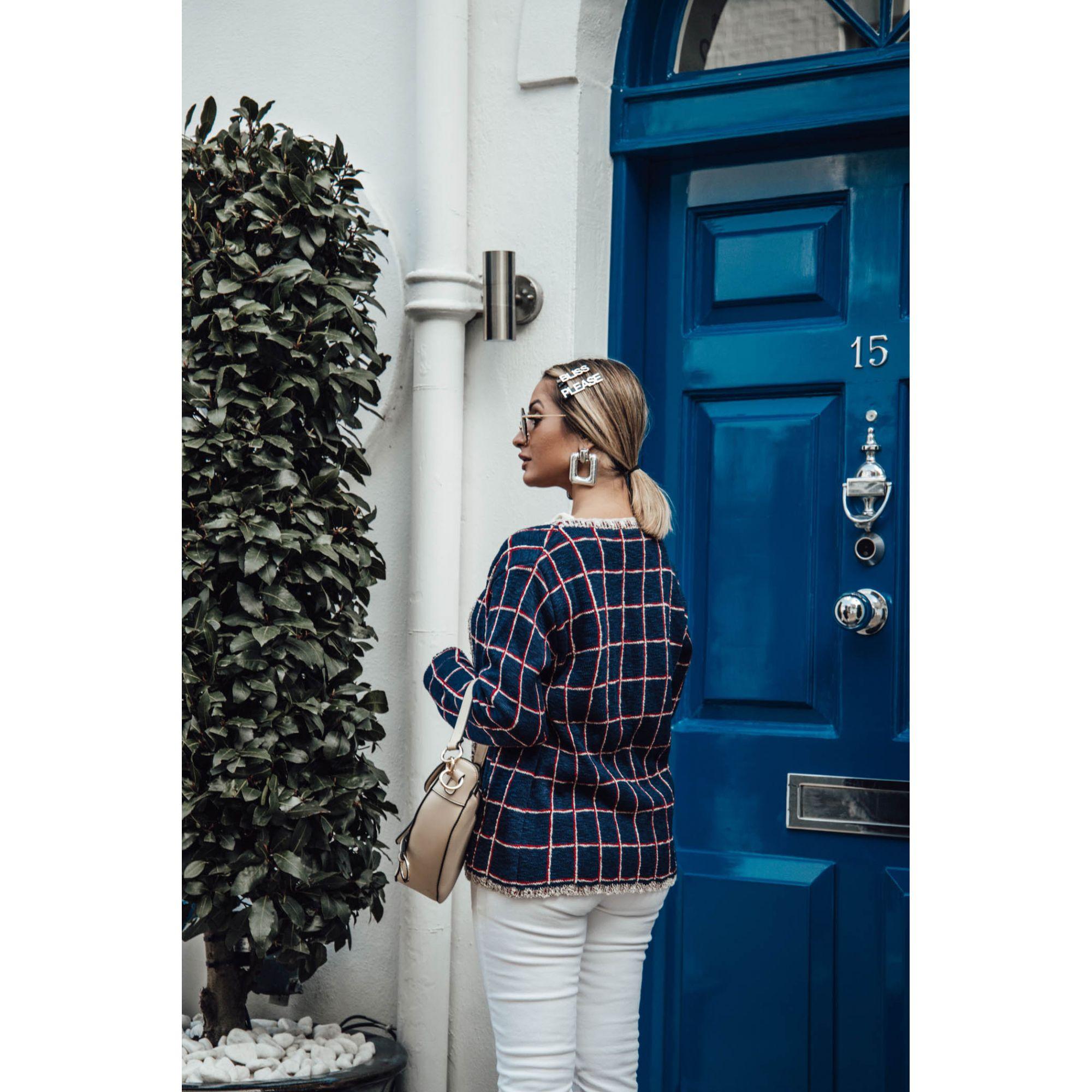 Casaco Vera Tricot Xadrez Feminino Azul / Vermelho