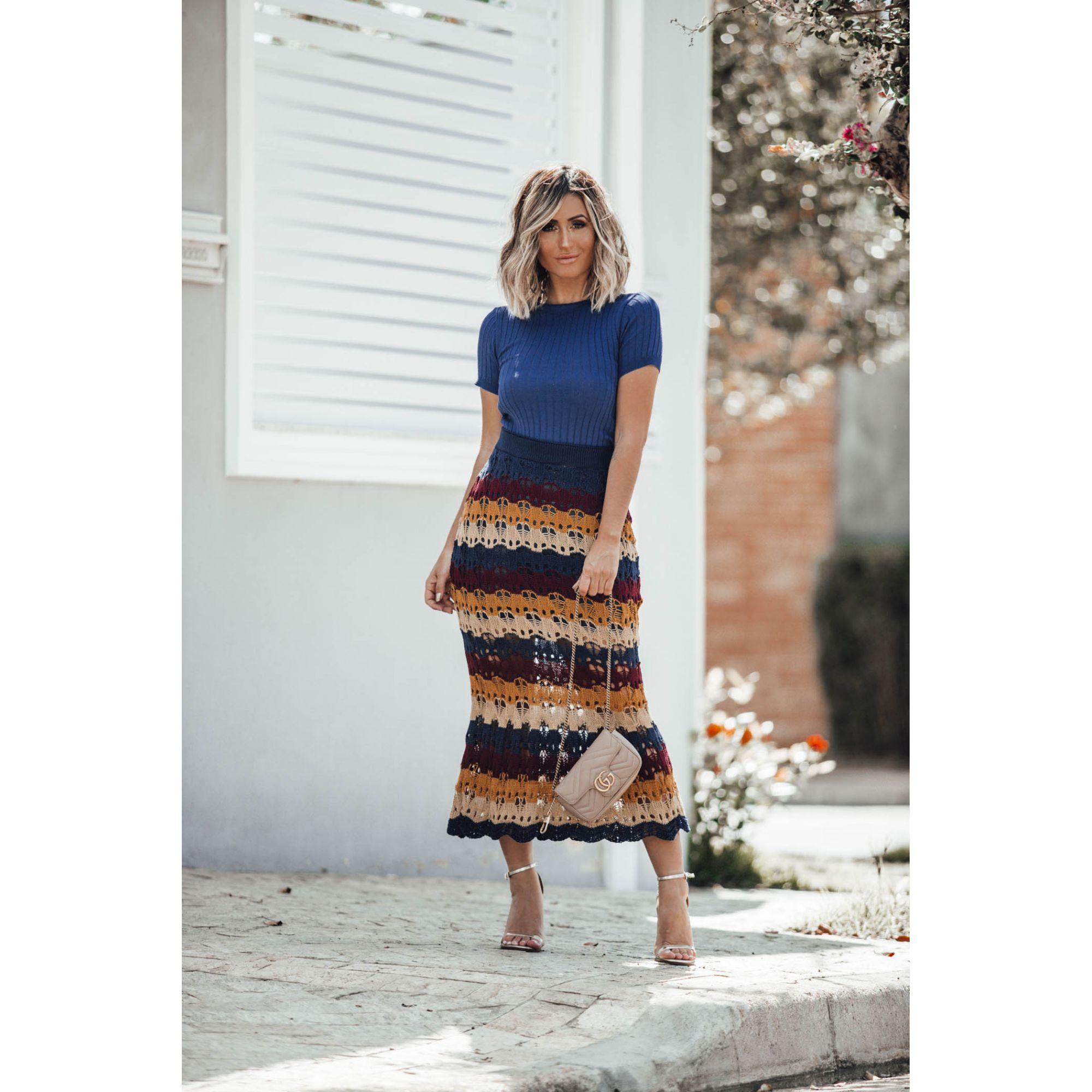 Tricô Saia Vera Tricot Renda Colorida Cordão Feminino