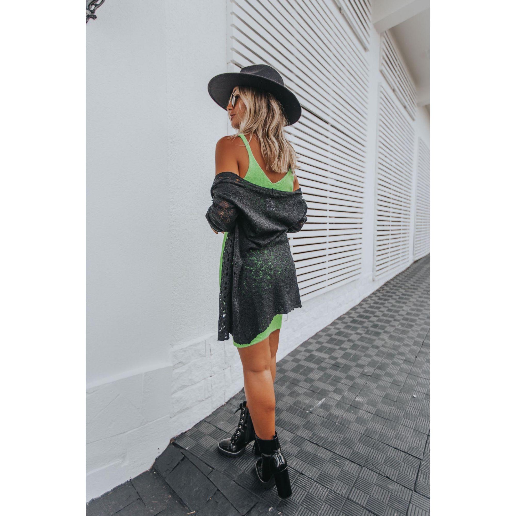 Vestido Vera Tricot Decote V Feminino Verde Neon