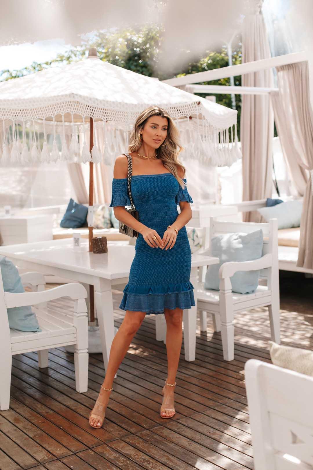 Vestido Ciganinha Lastex Dinorá Vera Tricot - Azul