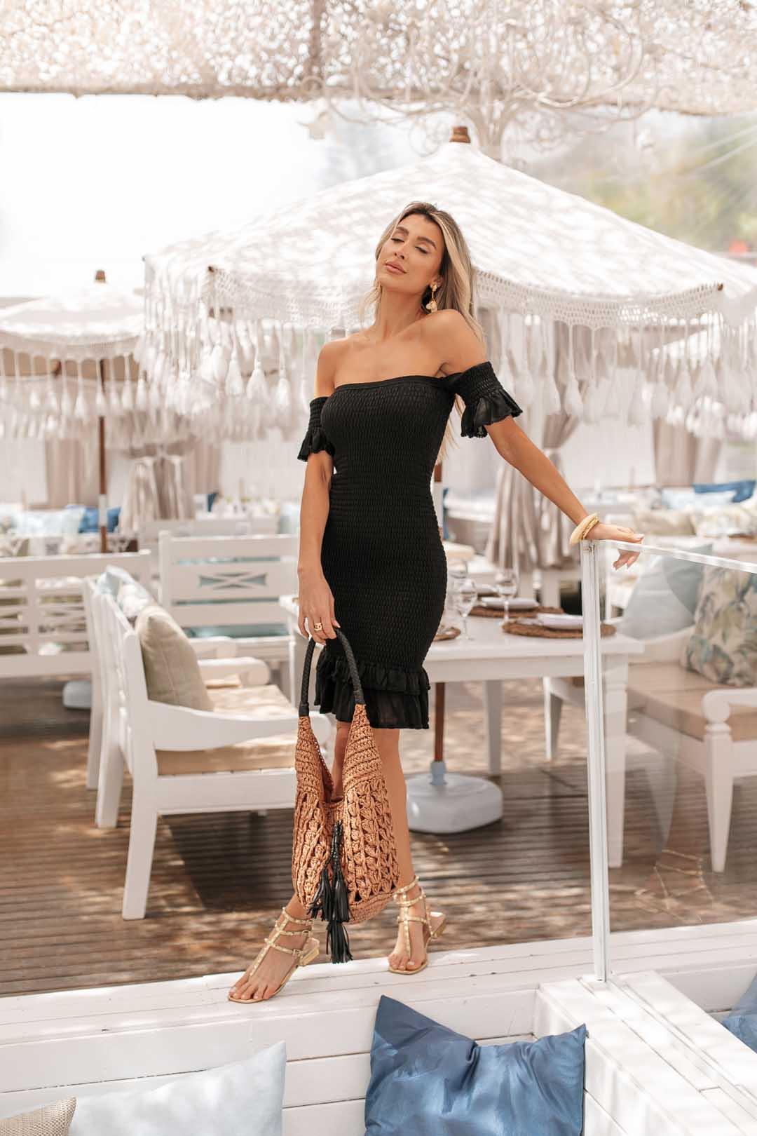 Vestido Ciganinha Lastex Dinorá Vera Tricot - Preto